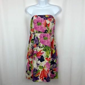 J.Crew Silk floral strapless minidress pockets 10